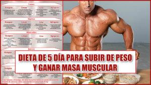 Dieta de 5 días para subir de peso y ganar masa muscular