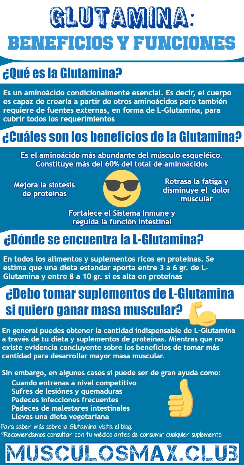 Glutamina beneficios y funciones Infografía