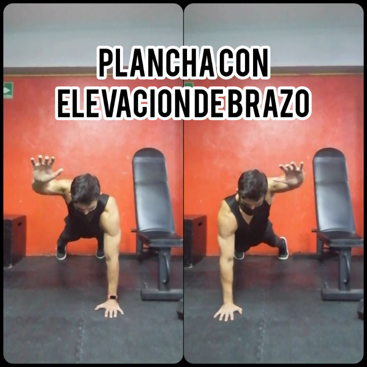 Plancha con elevación de brazo